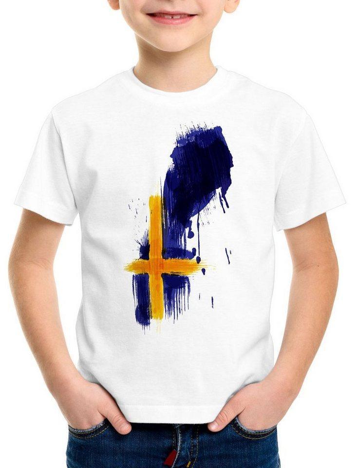 style3 Print-Shirt Kinder T-Shirt Flagge Schweden Fußball Sport Sweden WM EM Fahne, weiß