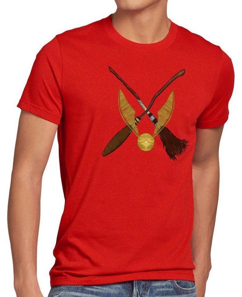 style3 Print-Shirt Herren T-Shirt Goldener Schnatz turnier sport besen quidditch, rot