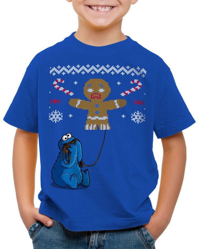 style3 Print-Shirt Kinder T-Shirt Krümelmonster Ugly Sweater kekse cookie fun ernie bert monster x-mas pulli, blau