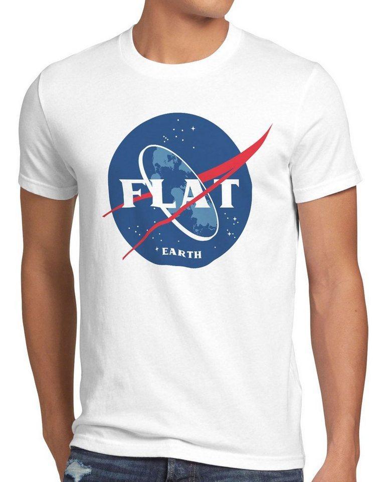 style3 Print-Shirt Herren T-Shirt Flat Earth fernrohr weltraum astronomie, weiß