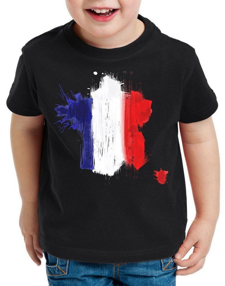 style3 Print-Shirt Kinder T-Shirt Flagge Frankreich Fußball Sport France WM EM Fahne, schwarz