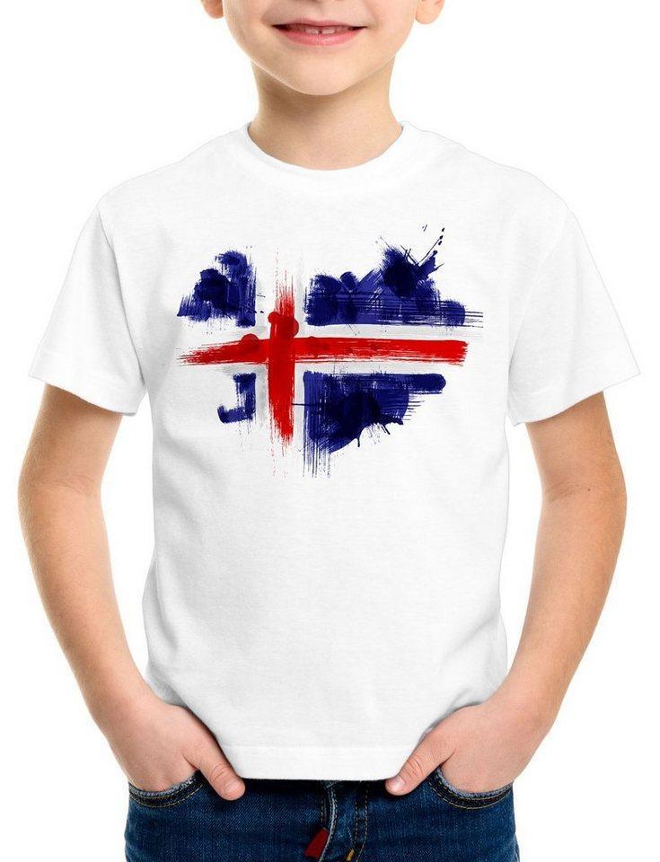 style3 Print-Shirt Kinder T-Shirt Flagge Island Fußball Sport Iceland WM EM Fahne, weiß