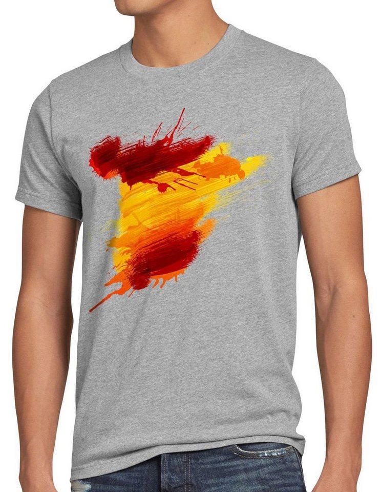 style3 Print-Shirt Herren T-Shirt Flagge Spanien Fußball Sport Spain WM EM Fahne, grau