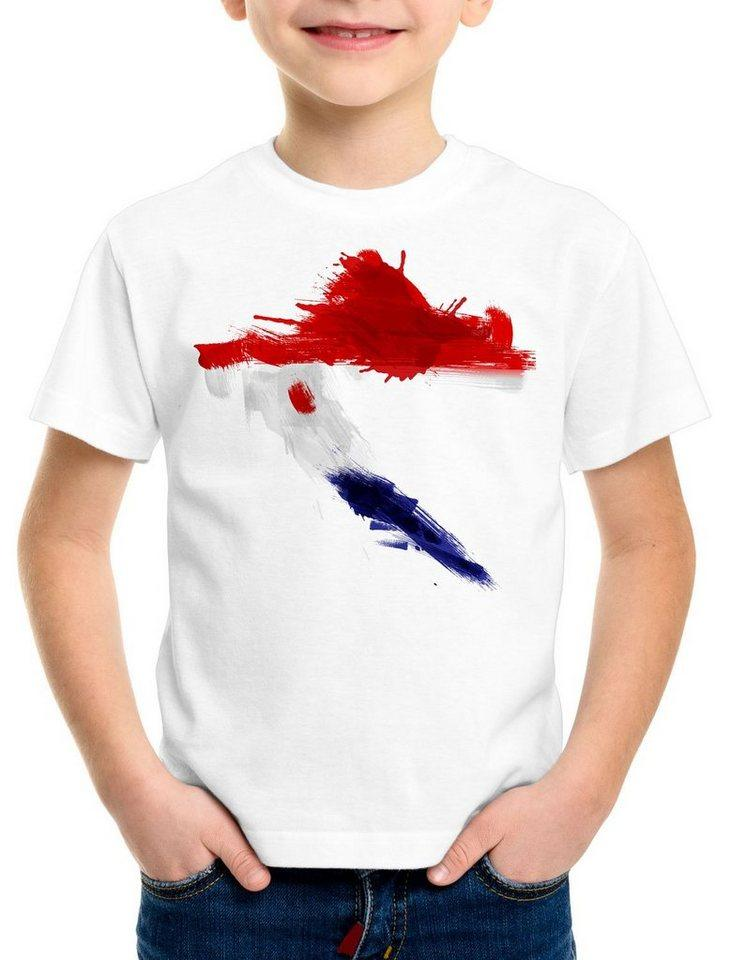 style3 Print-Shirt Kinder T-Shirt Flagge Kroatien Fußball Sport Croatia WM EM Fahne, weiß