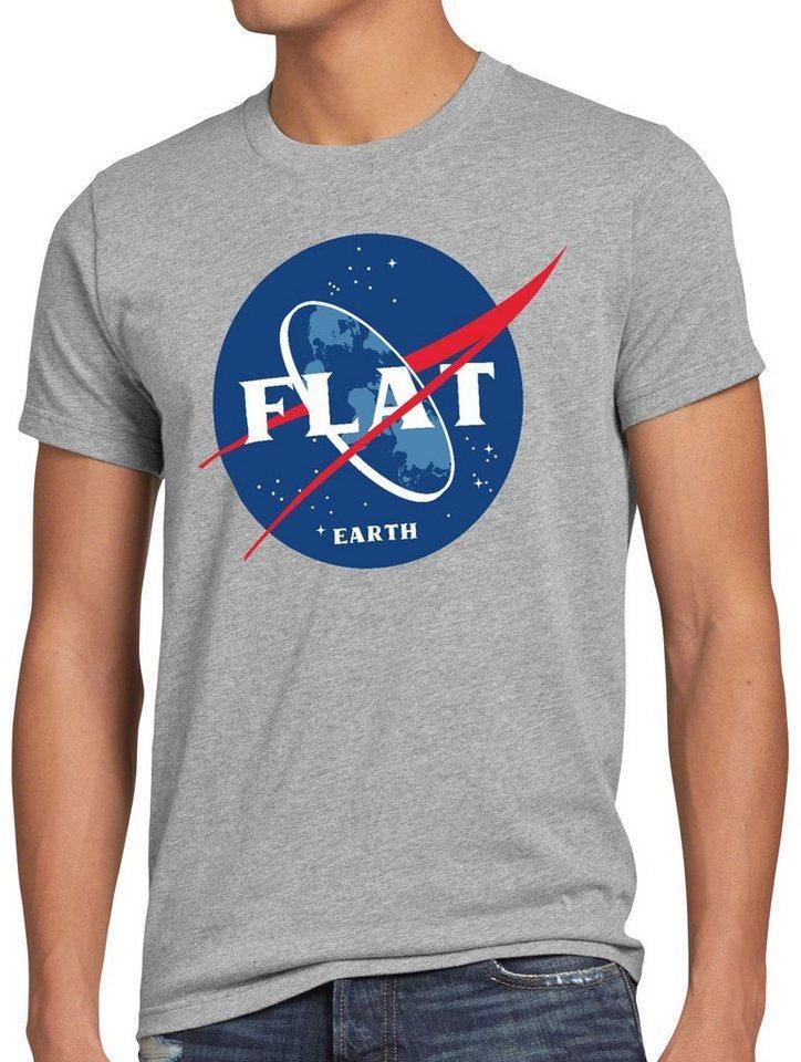 style3 Print-Shirt Herren T-Shirt Flat Earth fernrohr weltraum astronomie, grau