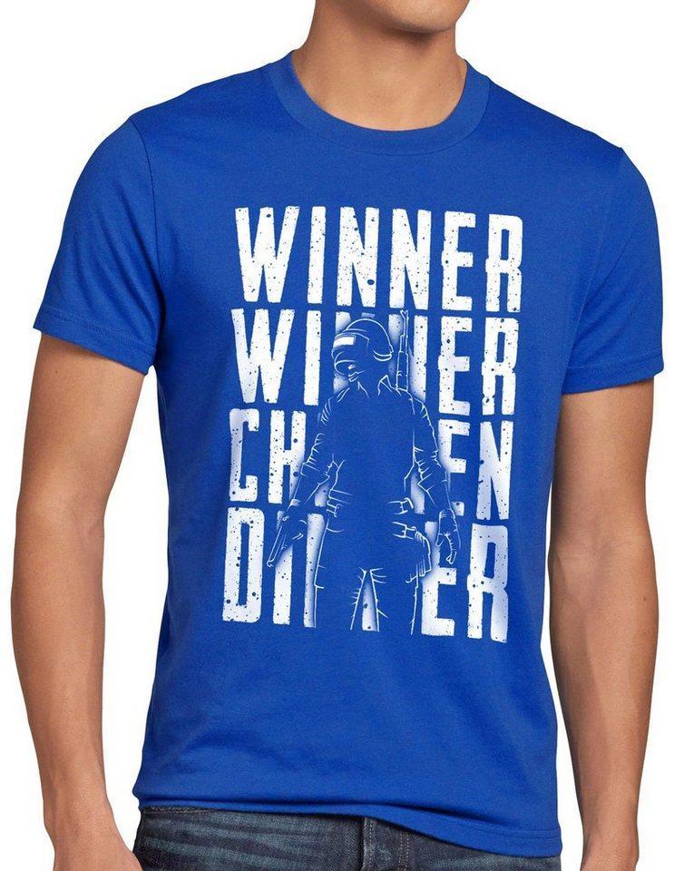 style3 Print-Shirt Herren T-Shirt Winner Winner Chicken Dinner pvp multiplayer, blau