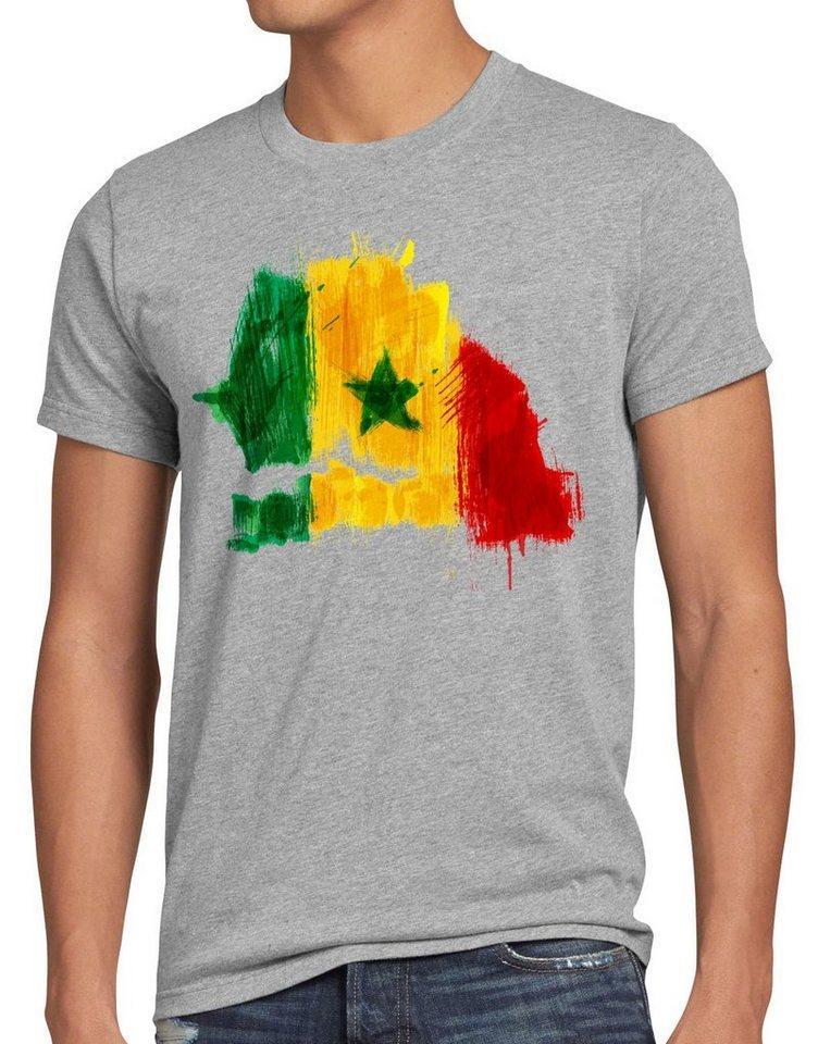 style3 Print-Shirt Herren T-Shirt Flagge Senegal Fußball Sport Afrika WM EM Fahne, grau