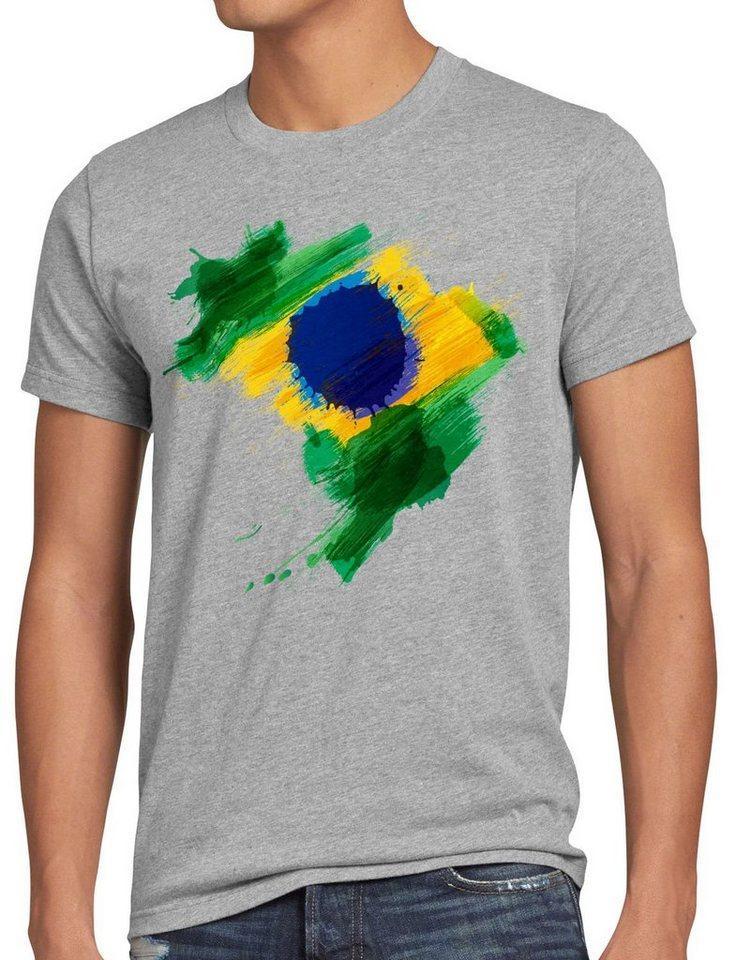 style3 Print-Shirt Herren T-Shirt Flagge Brasilien Fußball Sport Brazil WM EM Fahne, grau