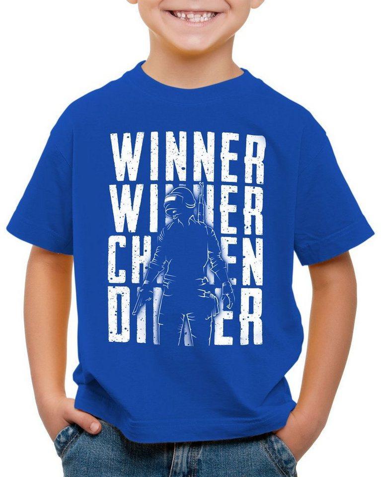 style3 Print-Shirt Kinder T-Shirt Winner Winner Chicken Dinner pvp multiplayer, blau