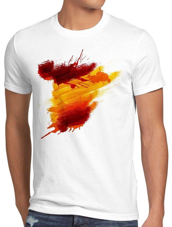 style3 Print-Shirt Herren T-Shirt Flagge Spanien Fußball Sport Spain WM EM Fahne, weiß
