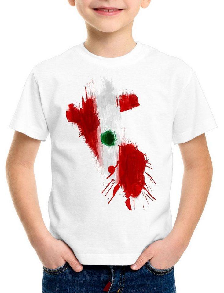 style3 Print-Shirt Kinder T-Shirt Flagge Peru Fußball Sport WM EM Fahne, weiß