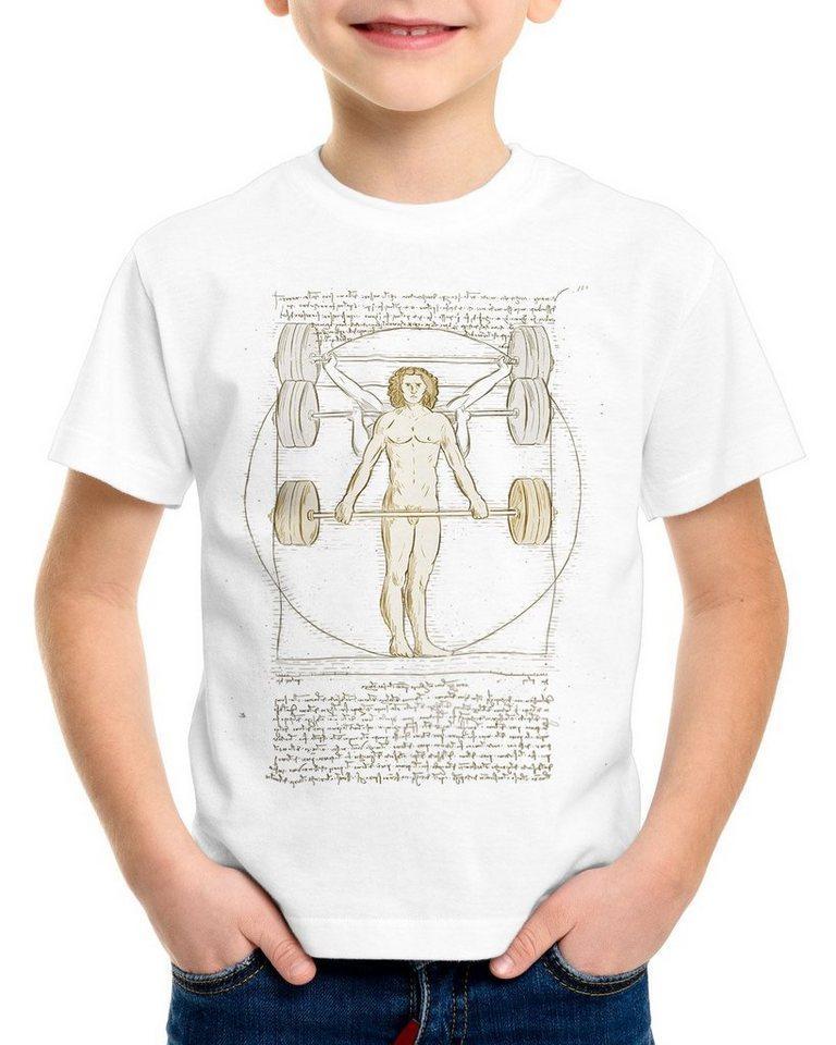 style3 Print-Shirt Kinder T-Shirt Vitruvianischer Mensch mit Langhantel kreuzheben fitnesstudio, weiß