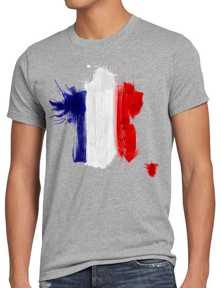 style3 Print-Shirt Herren T-Shirt Flagge Frankreich Fußball Sport France WM EM Fahne, grau