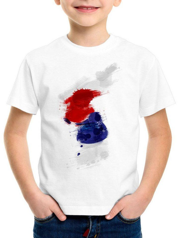 style3 Print-Shirt Kinder T-Shirt Flagge Korea Fußball Sport Hangug WM EM Fahne, weiß