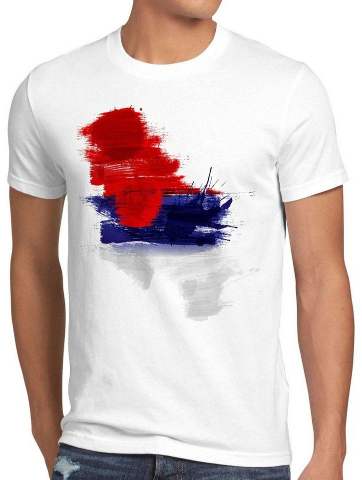 style3 Print-Shirt Herren T-Shirt Flagge Serbien Fußball Sport Serbia WM EM Fahne, weiß