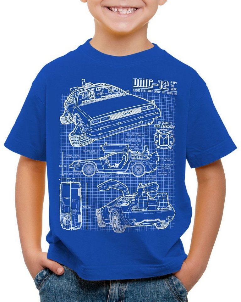 style3 Print-Shirt Kinder T-Shirt DMC-12 Blaupause, blau