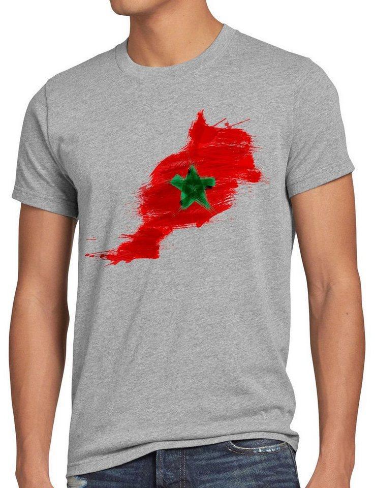 style3 Print-Shirt Herren T-Shirt Flagge Marokko Fußball Sport Morocco WM EM Fahne, grau