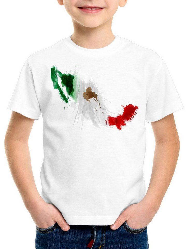 style3 Print-Shirt Kinder T-Shirt Flagge Mexiko Fußball Sport Mexico WM EM Fahne, weiß