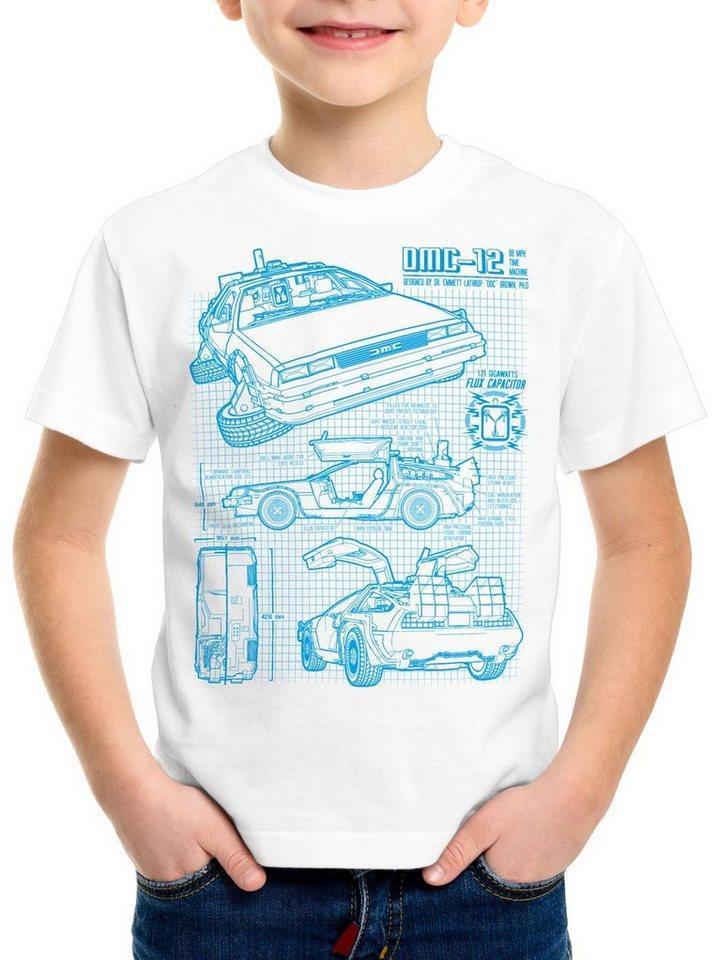 style3 Print-Shirt Kinder T-Shirt DMC-12 Blaupause, weiß