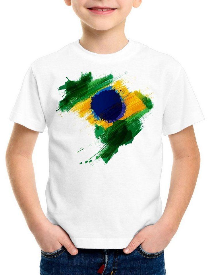 style3 Print-Shirt Kinder T-Shirt Flagge Brasilien Fußball Sport Brazil WM EM Fahne, weiß