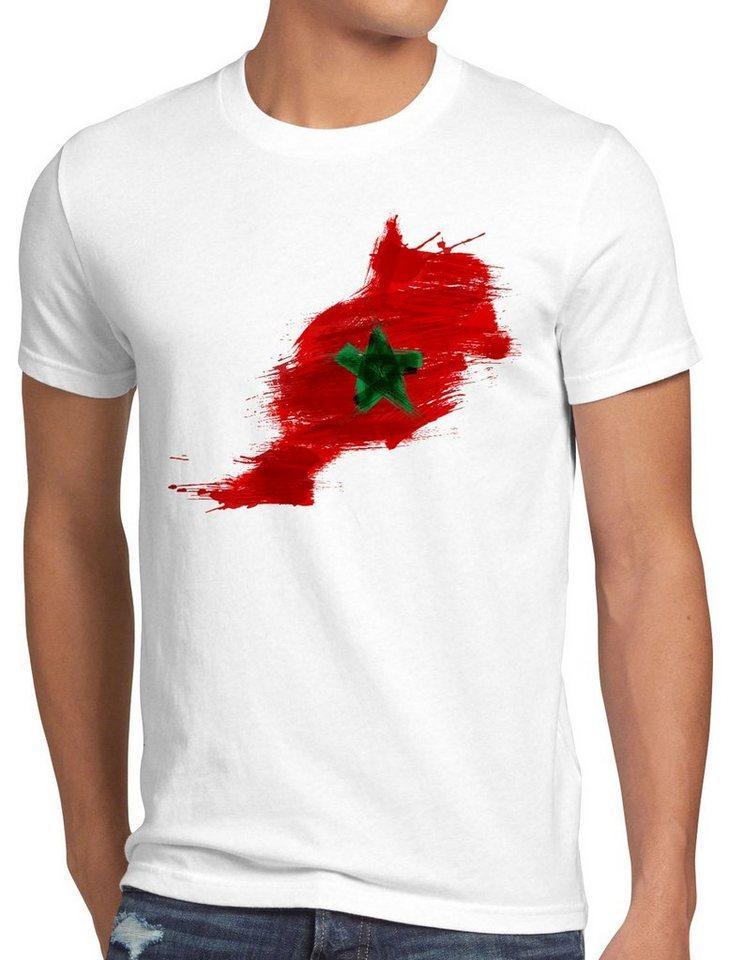 style3 Print-Shirt Herren T-Shirt Flagge Marokko Fußball Sport Morocco WM EM Fahne, weiß