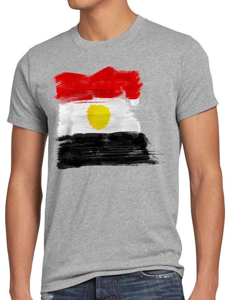 style3 Print-Shirt Herren T-Shirt Flagge Ägypten Fußball Sport Egypt WM EM Fahne, grau