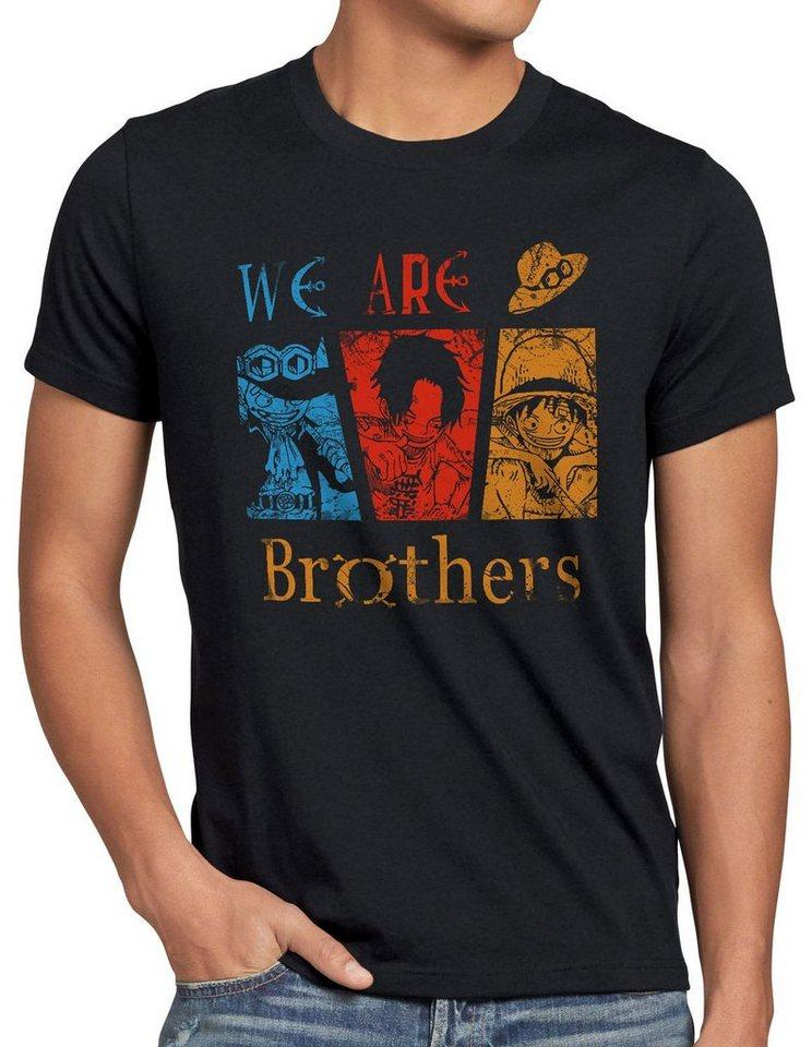 style3 Print-Shirt Herren T-Shirt We are Brothers One Ruffy Ace Piraten Anime Luffy Piece