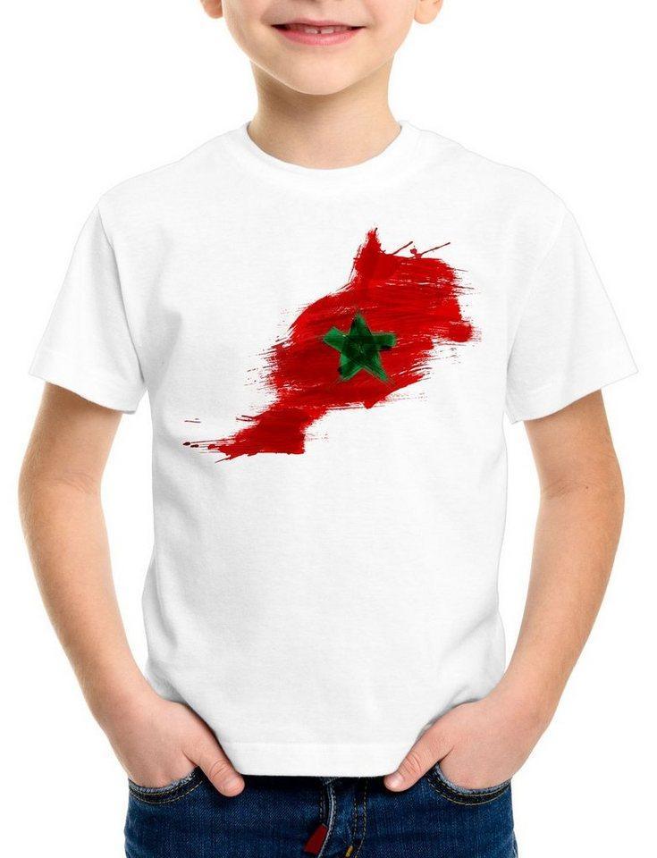 style3 Print-Shirt Kinder T-Shirt Flagge Marokko Fußball Sport Morocco WM EM Fahne, weiß