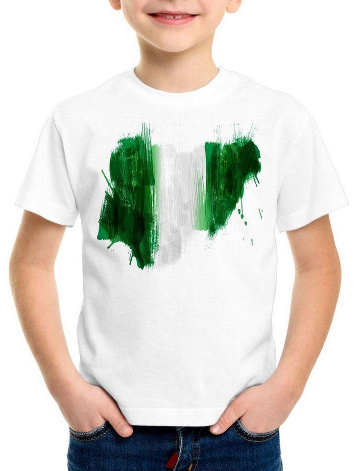 style3 Print-Shirt Kinder T-Shirt Flagge Nigeria Fußball Sport Afrika WM EM Fahne, weiß