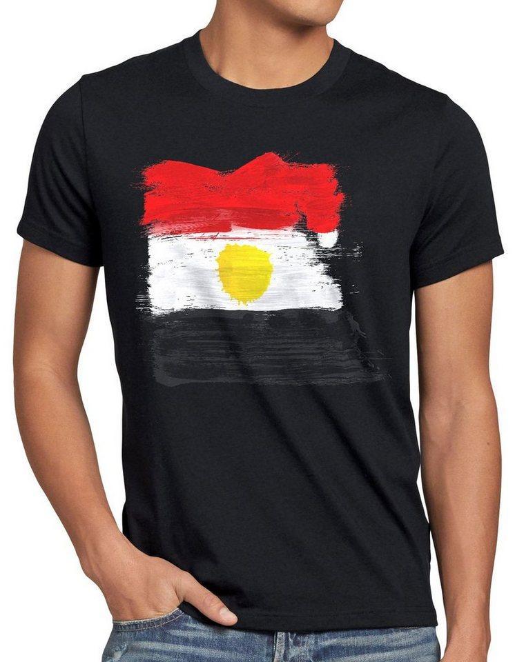 style3 Print-Shirt Herren T-Shirt Flagge Ägypten Fußball Sport Egypt WM EM Fahne, schwarz