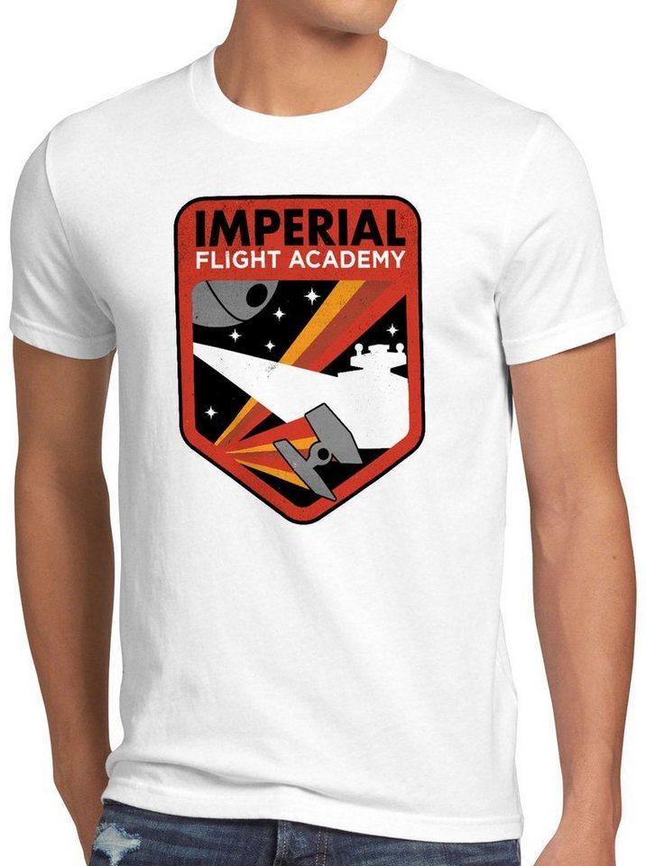 style3 Print-Shirt Herren T-Shirt Imperial Flight sternenzerstörer tie, weiß