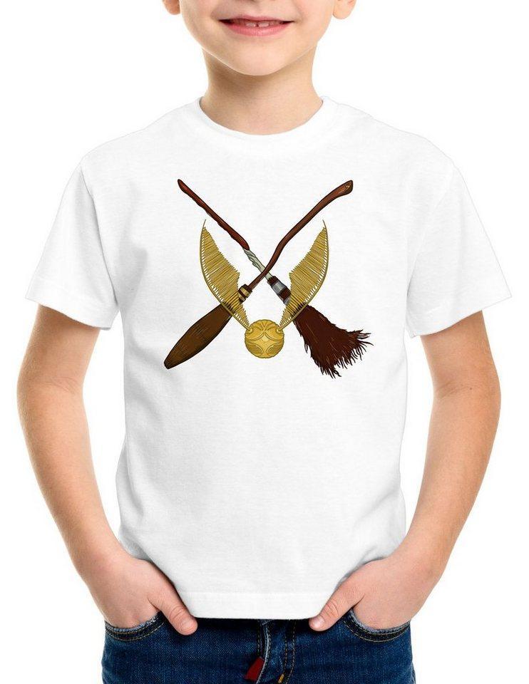 style3 Print-Shirt Kinder T-Shirt Goldener Schnatz turnier sport besen quidditch, weiß