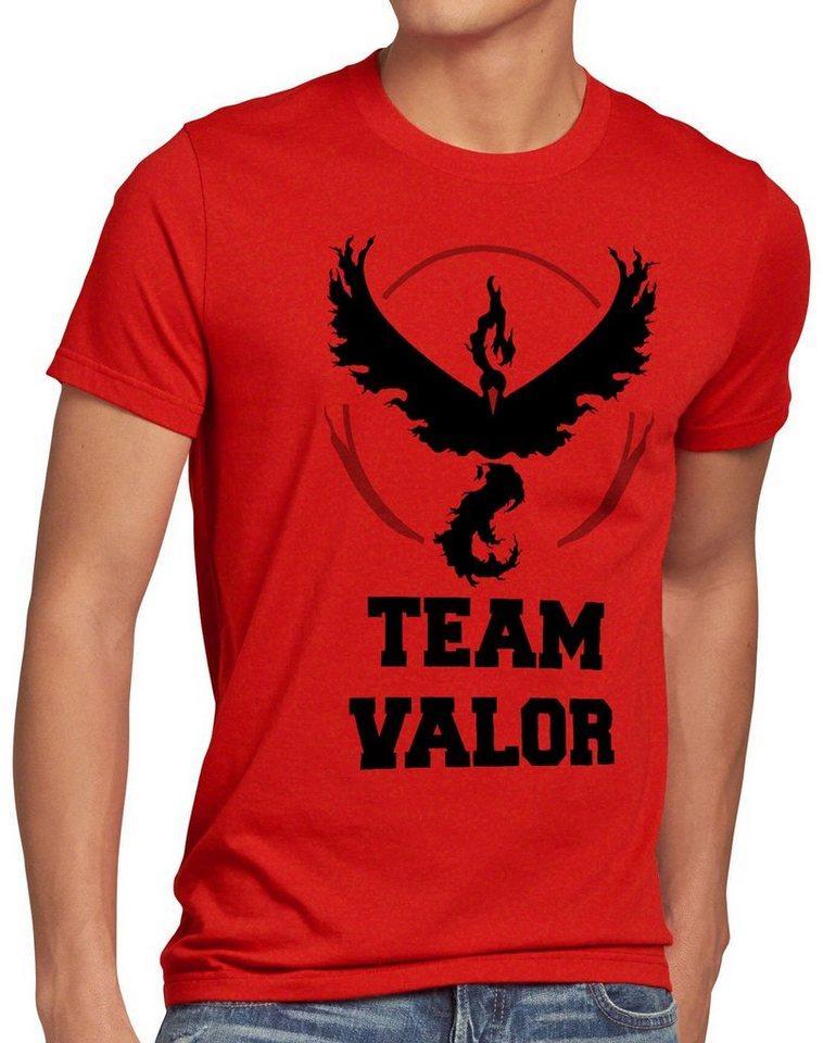 style3 Print-Shirt Herren T-Shirt Team Valor Rot Red Wagemut arena pokeball game go kampf poke ball, rot