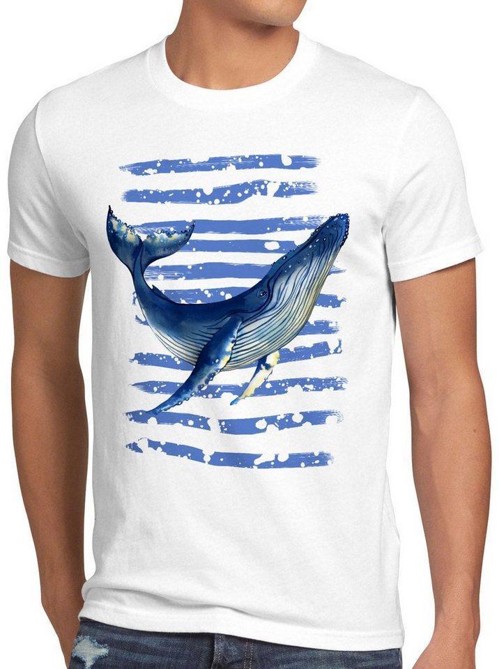 style3 Print-Shirt Herren T-Shirt Blauwal meer ozean tauchen