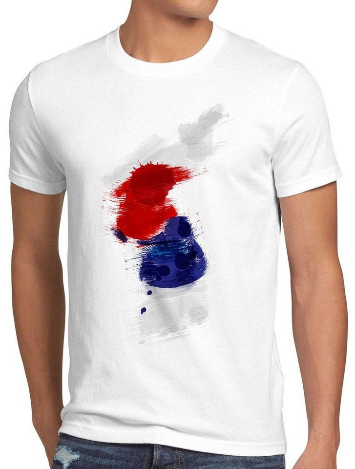 style3 Print-Shirt Herren T-Shirt Flagge Korea Fußball Sport Hangug WM EM Fahne, weiß