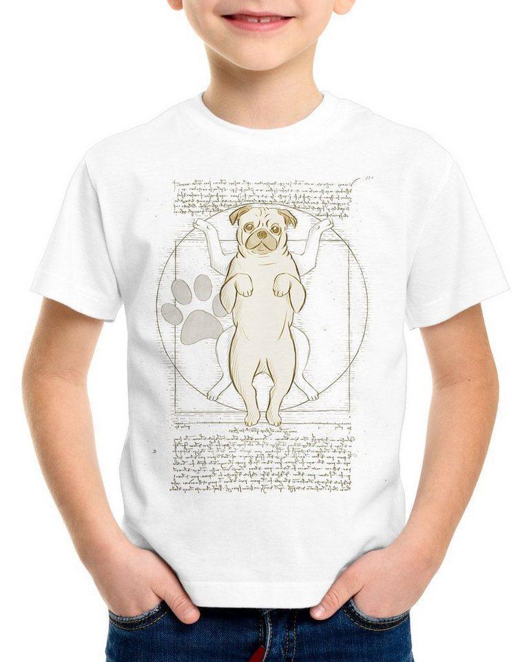 style3 Print-Shirt Kinder T-Shirt Vitruvianischer Mops hund da vinci, weiß