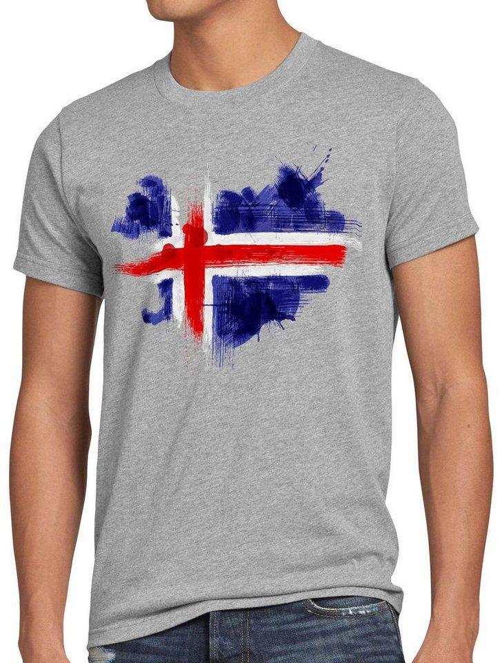style3 Print-Shirt Herren T-Shirt Flagge Island Fußball Sport Iceland WM EM Fahne, grau