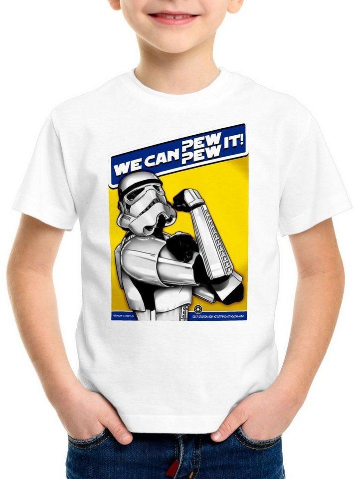 style3 Print-Shirt Kinder T-Shirt Pew Pew It T-Shirt für imperium sturmtruppen, weiß