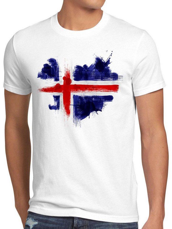 style3 Print-Shirt Herren T-Shirt Flagge Island Fußball Sport Iceland WM EM Fahne, weiß