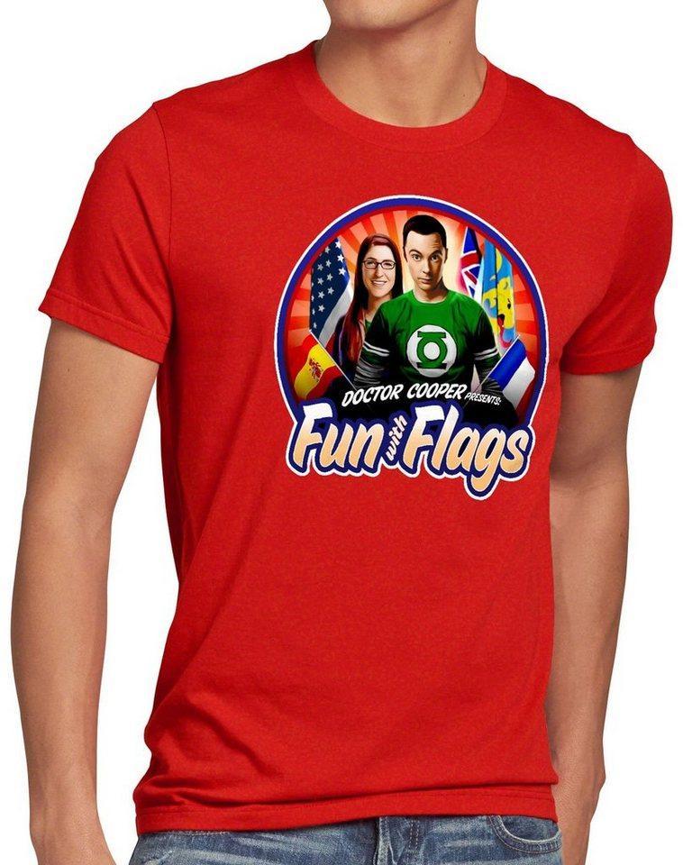 style3 Print-Shirt Herren T-Shirt Fun wih Flags sheldon flagge fahne banner amy, rot