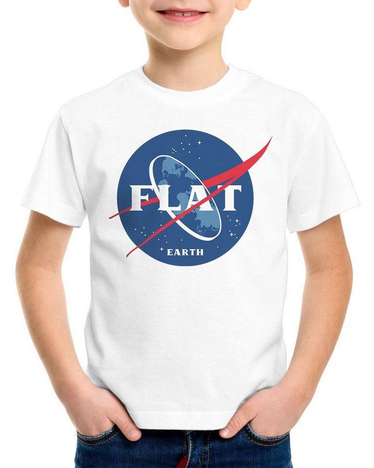 style3 Print-Shirt Kinder T-Shirt Flat Earth fernrohr weltraum astronomie, weiß