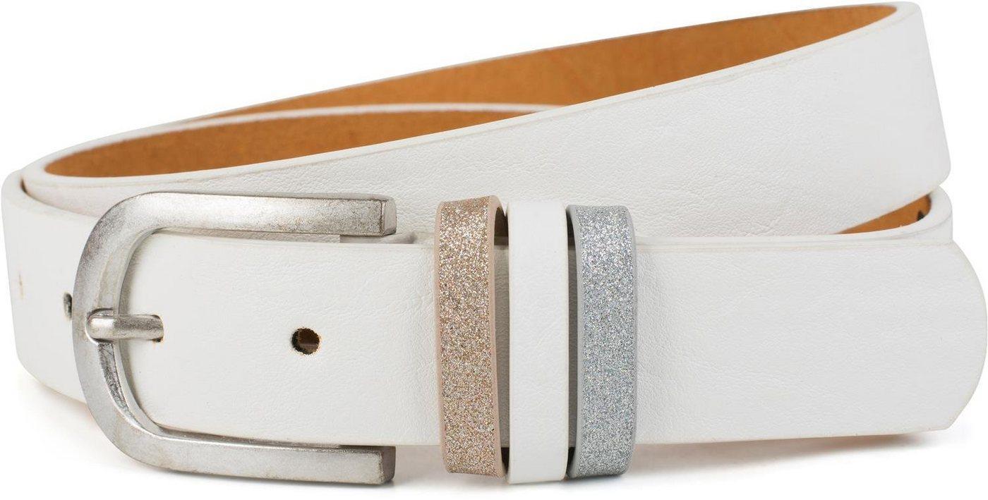 styleBREAKER Synthetikgürtel »Gürtel mit Glitzer an der Schlaufe« Gürtel mit Glitzer an der Schlaufe, weiß