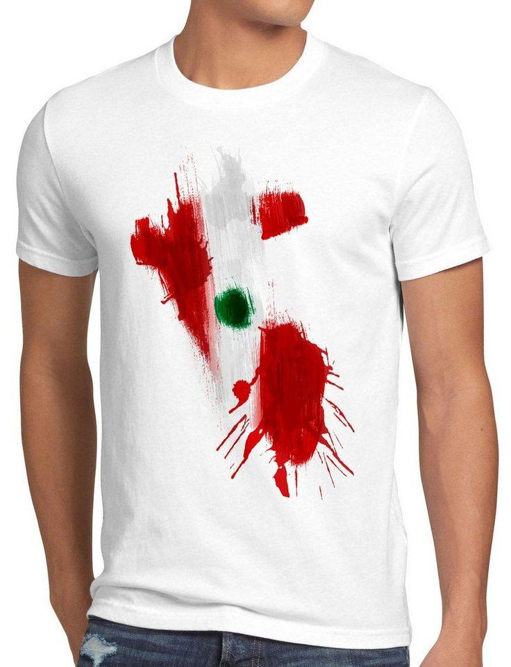 style3 Print-Shirt Herren T-Shirt Flagge Peru Fußball Sport WM EM Fahne, weiß