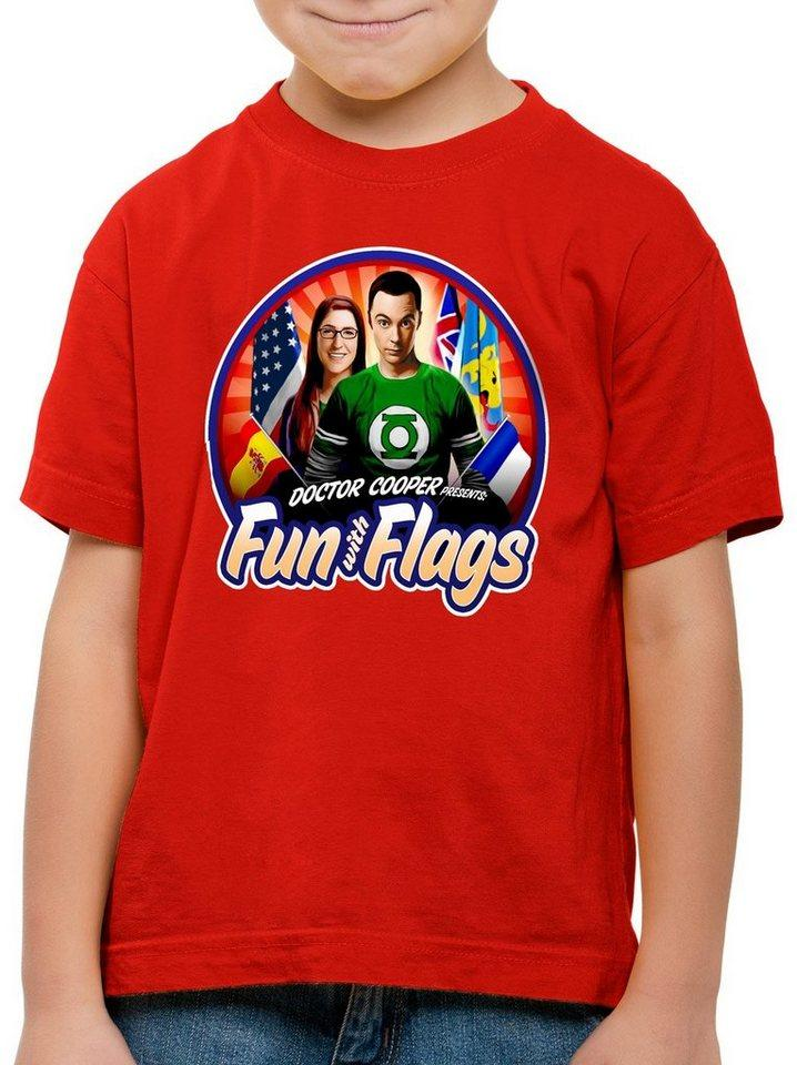 style3 Print-Shirt Kinder T-Shirt Fun with Flags sheldon flagge fahne banner amy, rot