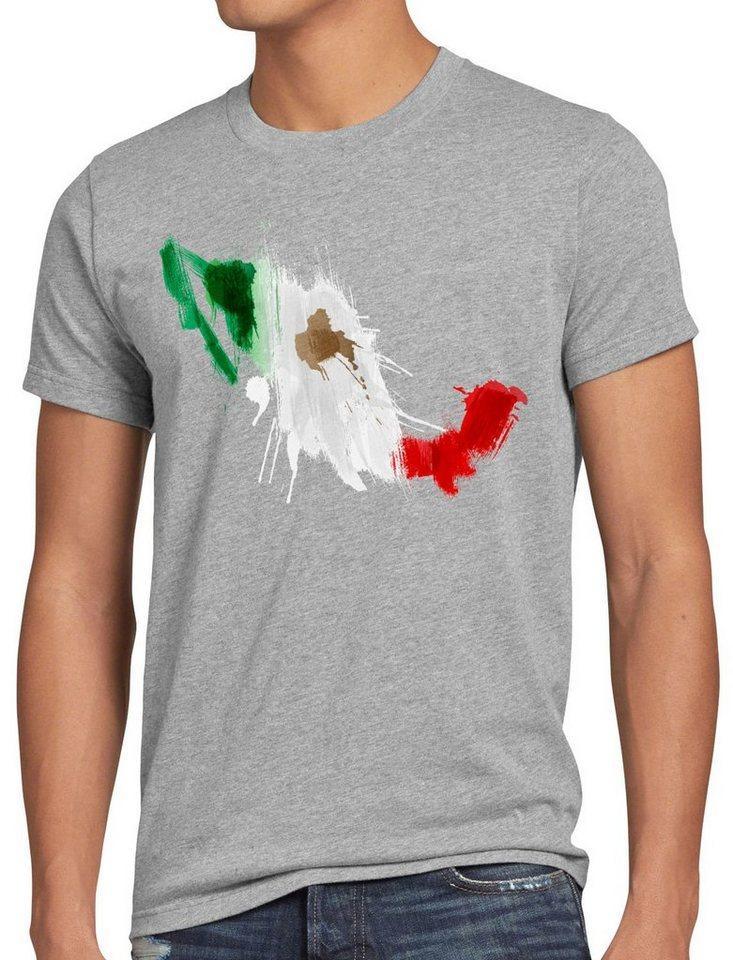 style3 Print-Shirt Herren T-Shirt Flagge Mexiko Fußball Sport Mexico WM EM Fahne, grau
