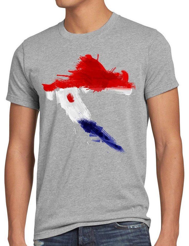 style3 Print-Shirt Herren T-Shirt Flagge Kroatien Fußball Sport Croatia WM EM Fahne, grau