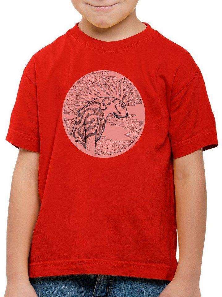 style3 Print-Shirt Kinder T-Shirt Dot Waldgott wolf prinzessin anime mononoke japan, rot