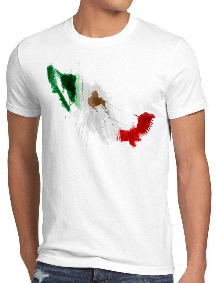 style3 Print-Shirt Herren T-Shirt Flagge Mexiko Fußball Sport Mexico WM EM Fahne, weiß