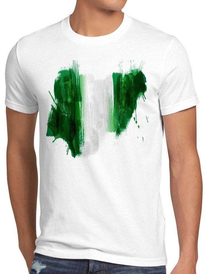 style3 Print-Shirt Herren T-Shirt Flagge Nigeria Fußball Sport Afrika WM EM Fahne, weiß