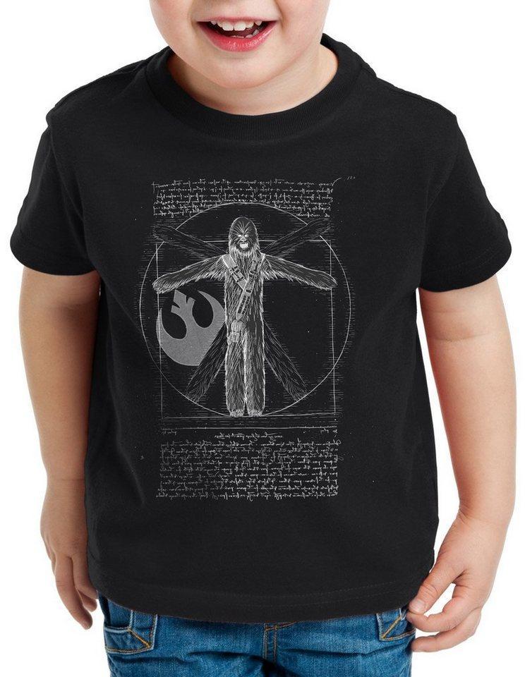style3 Print-Shirt Kinder T-Shirt Vitruvianischer Wookiee chewie da vinci, schwarz